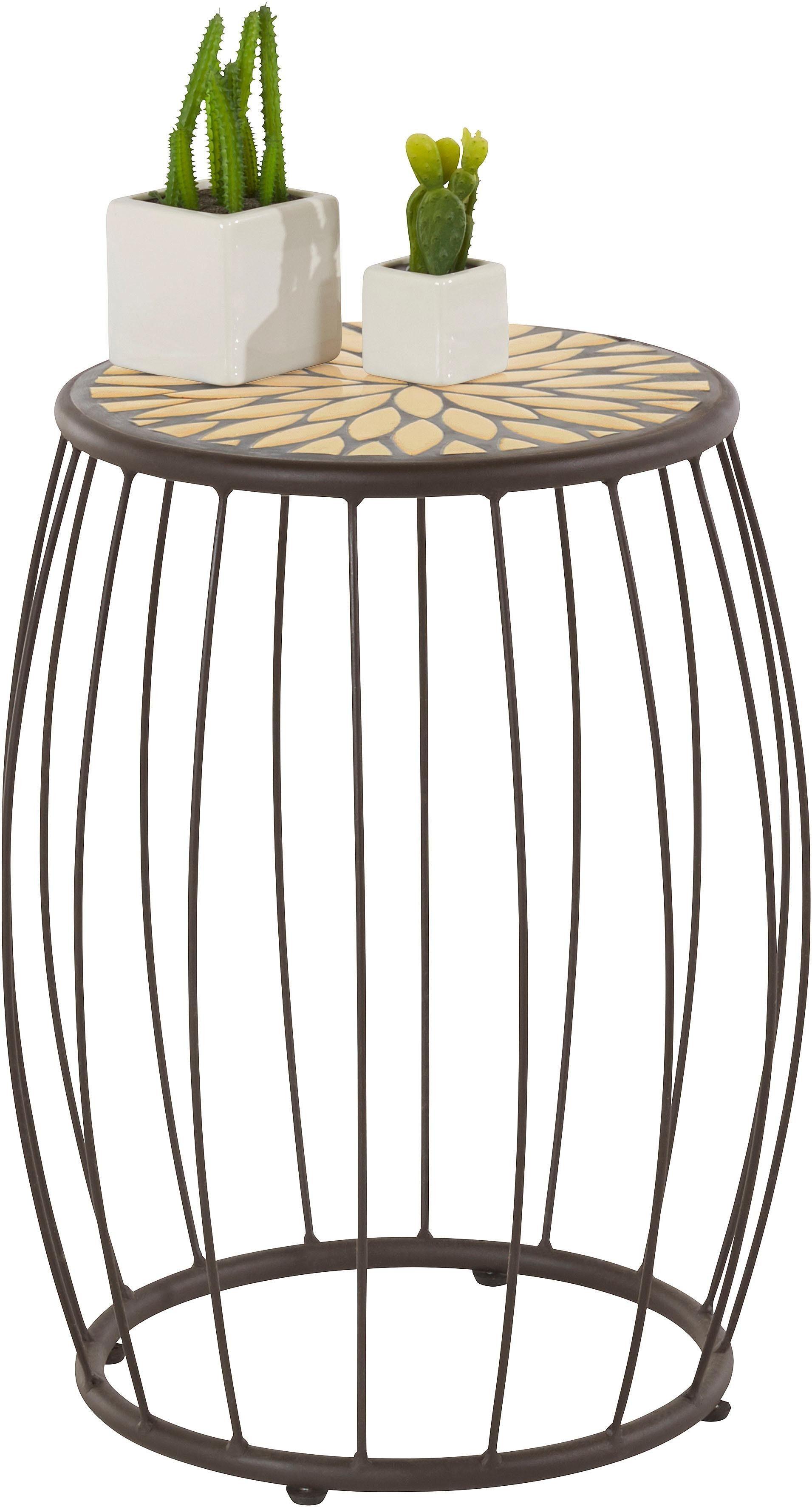 Home affaire Beistelltisch mit Mosaik-Keramiktischplatte