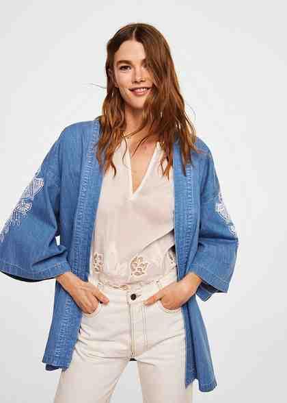 MANGO Bestickter Jeans-Kimono