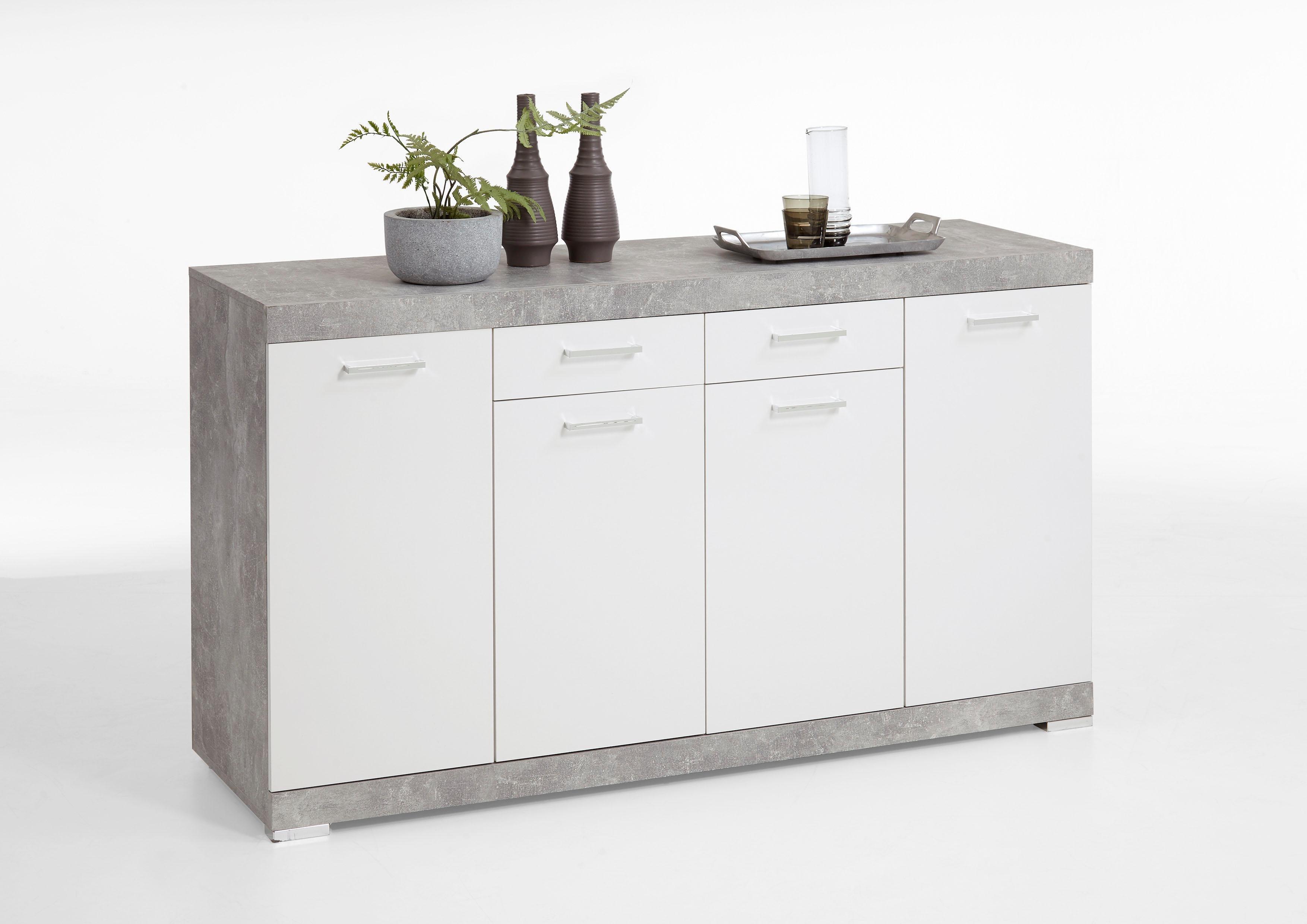 FMD Kommode »Brist«, Breite 160 cm   Wohnzimmer > Schränke > Kommoden   Weiß - Glanz   Beton - Glänzend - Melamin   FMD