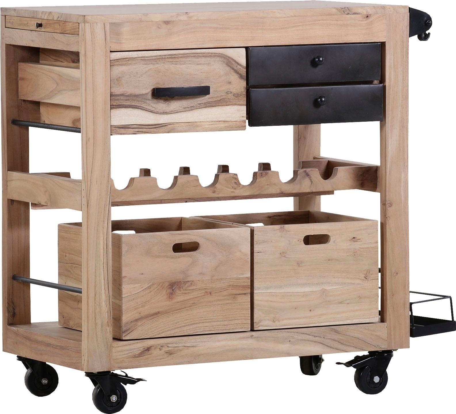 Küchenwagen »Trolley4« aus massivem Sheesham Holz