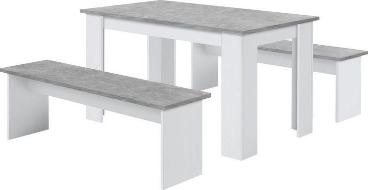 FMD Essgruppe »Dornum«, (Set, 3 tlg), bestehend aus einem Tisch und zwei Bänken