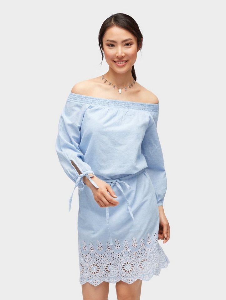 Tom Tailor Sommerkleid »Gestreiftes Kleid mit Lochstickerei« | Bekleidung > Kleider > Sommerkleider | Blau | Tom Tailor