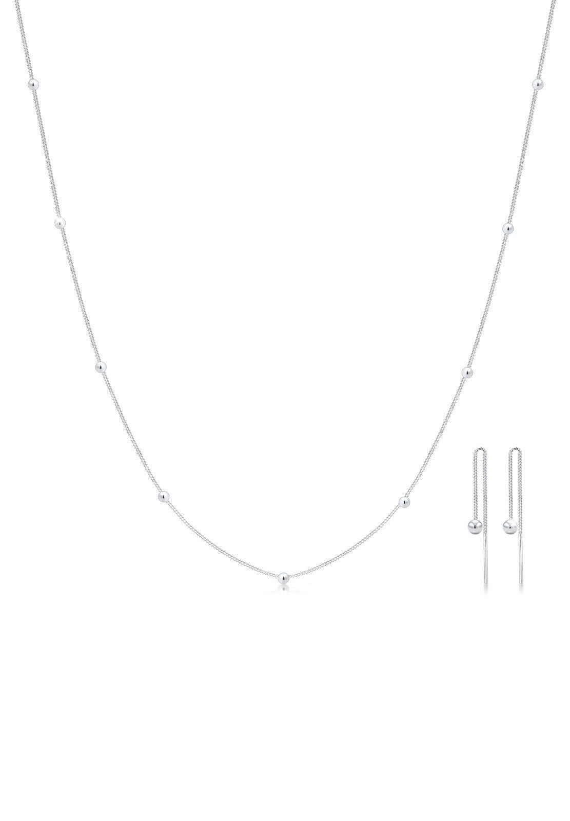 Elli Ohrring und Ketten Set »Set: Geo Kugel Minimal Basic 925 Sterling Silber Rond« (Set, 2 tlg)