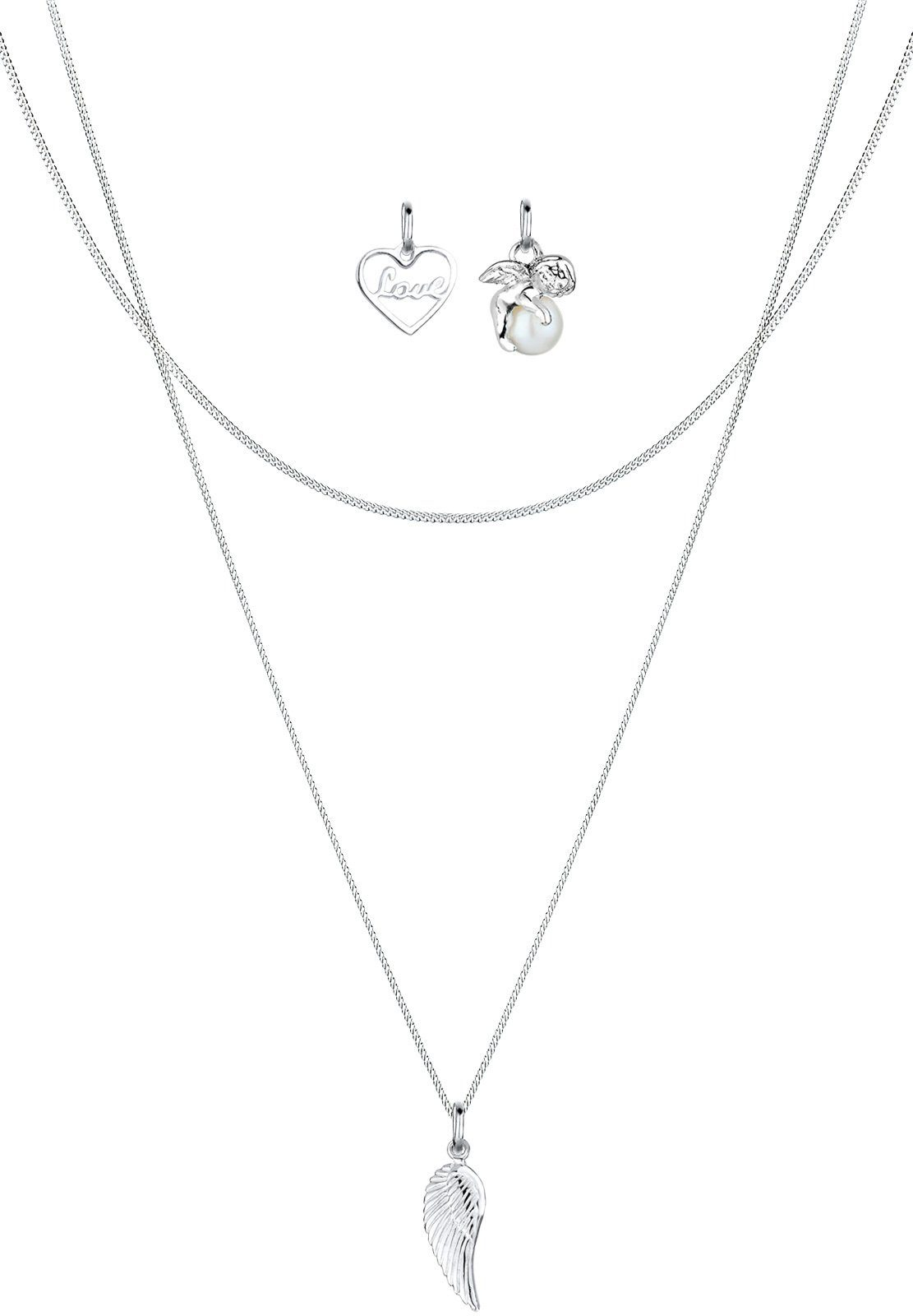 Elli Perlenketten-Set »Set: Anhänger-Set Herz Engel Flügel 925 Silber« (Set, 3 tlg)
