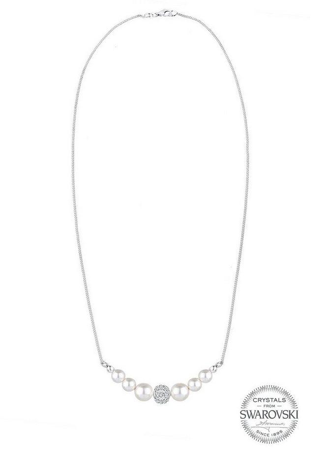 PERLU Perlenkette »Perle Swarovski® Kristalle 925 Sterling Silber« | Schmuck > Halsketten > Perlenketten | Weiß | PERLU