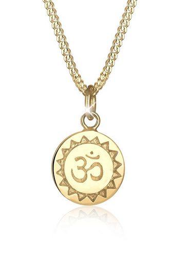 Elli Collierkettchen »Om Mantra Yoga Anhänger 925 Silber vergoldet«