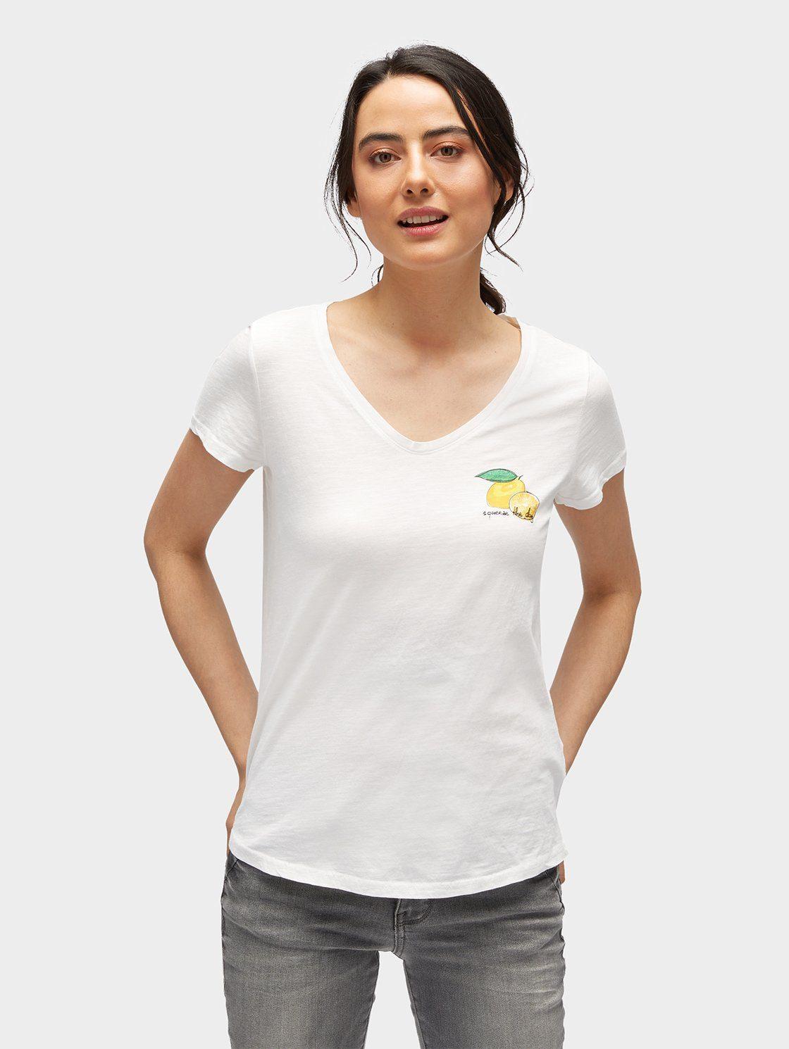 T-Shirt mit Früchte-Print und Stickerei Tom Tailor Wsn3GEM10