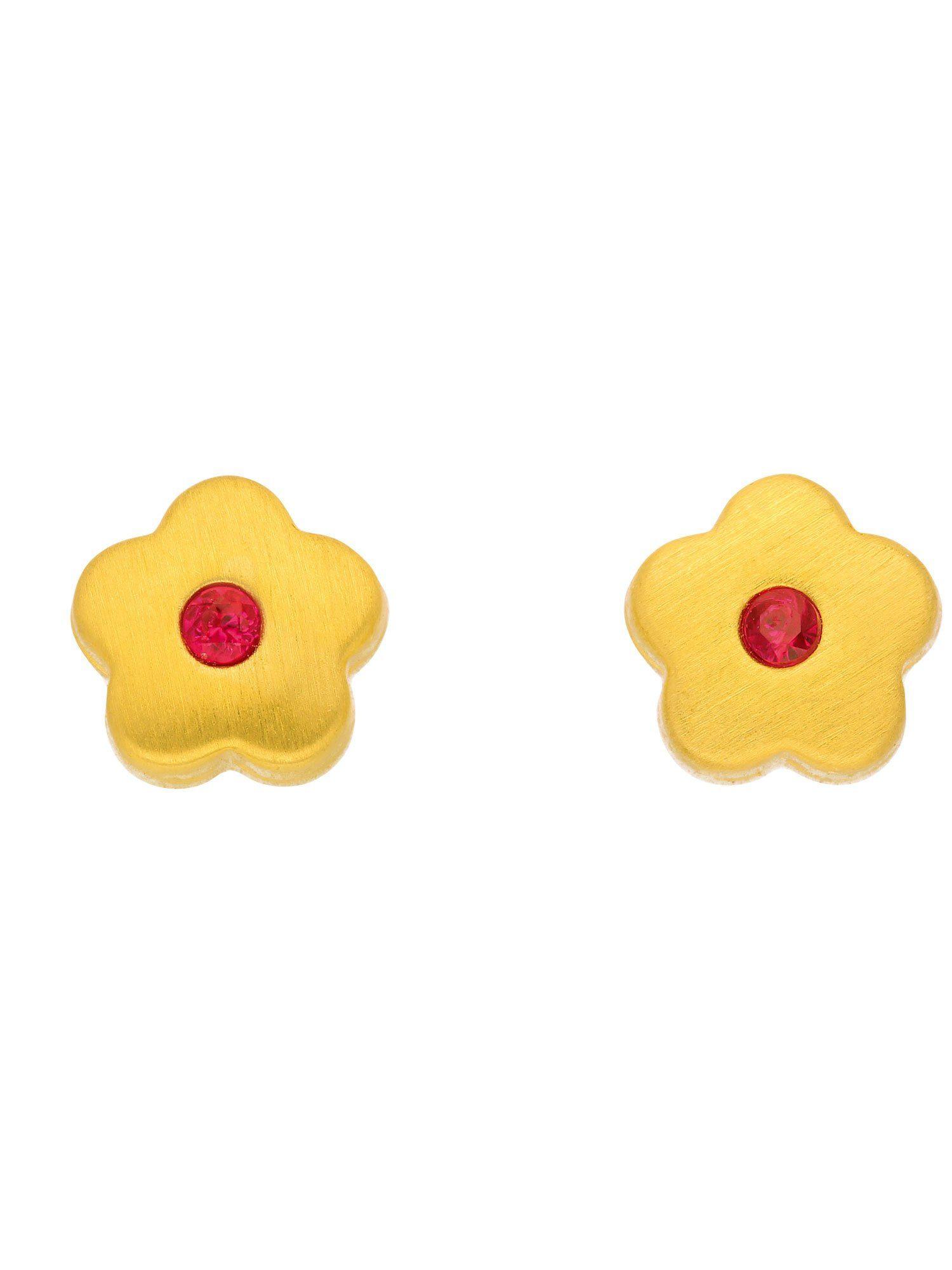 Adelia´s Paar Ohrstecker »Gold Ohrringe«, 8 k 333 Blüte mit synt. Rub