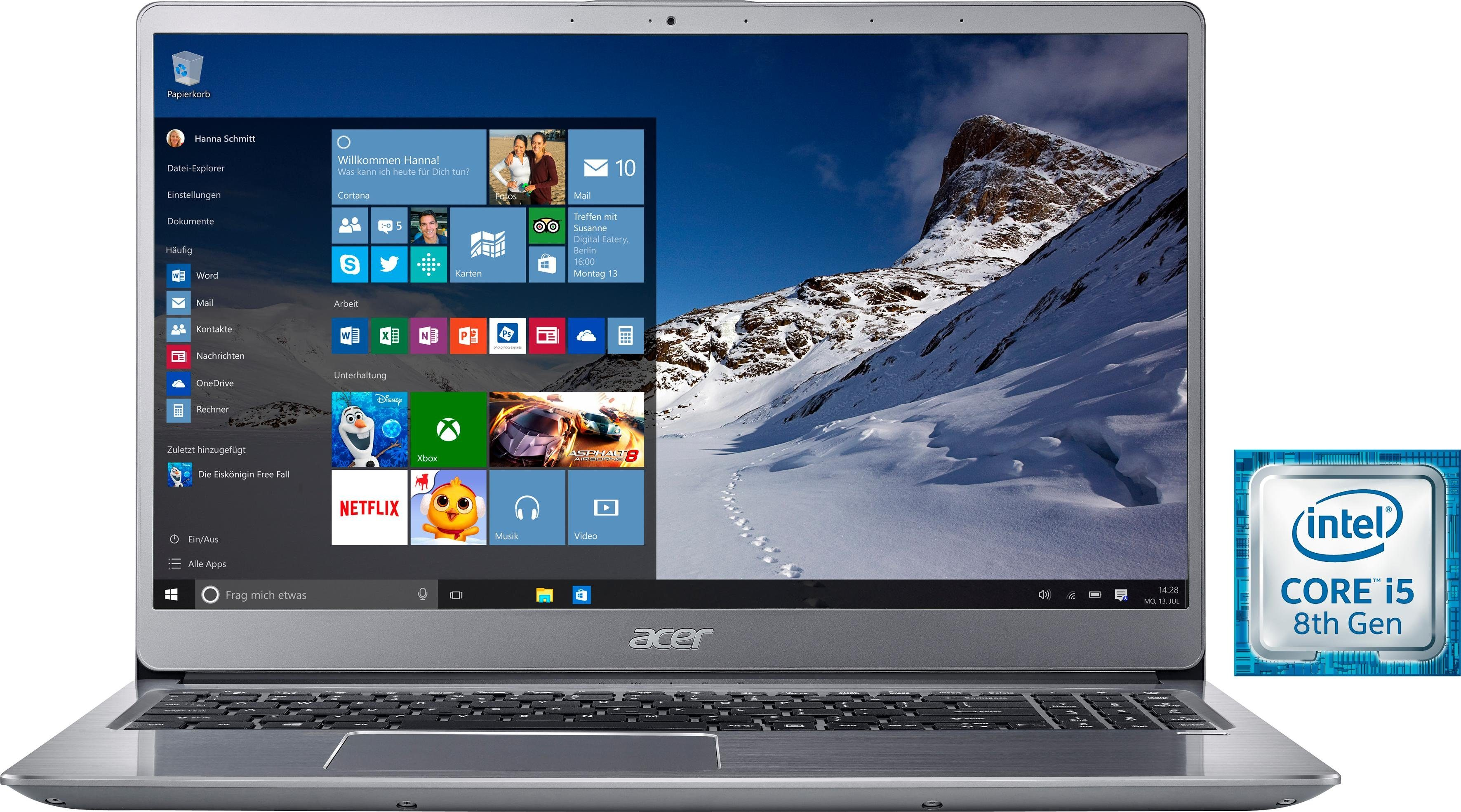Acer SF315-52-51D4 Notebook (39,62 cm/15,6 Zoll, Intel Core i5, 1000 GB HDD, 16 GB SSD)