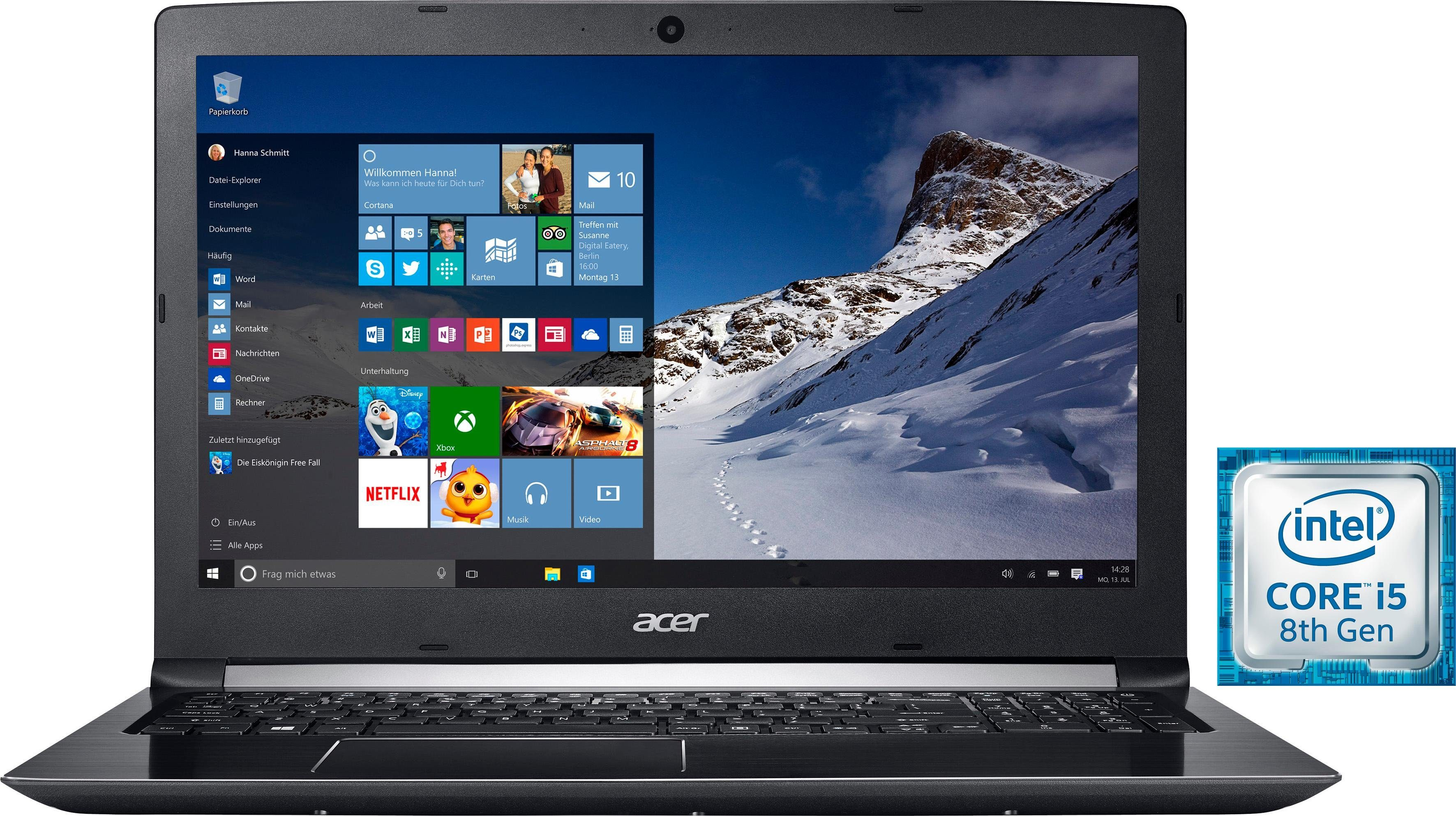 Acer Aspire 5 (A515-51-52L5) Notebook (39,62 cm/15,6 Zoll, Intel Core i5, 1000 GB HDD, 16 GB SSD)