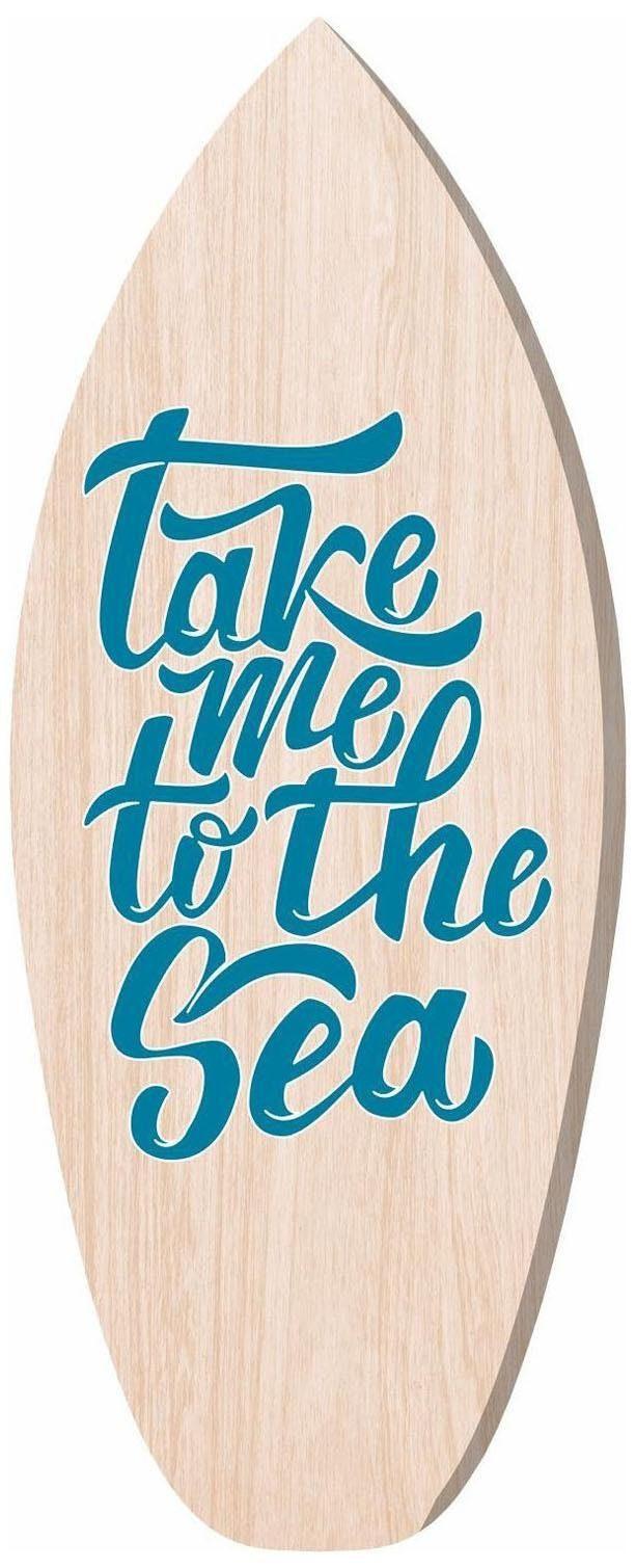 Home affaire Holzbild »take me to the sea«, Schriftzüge, 40/100 cm, Surfbrett