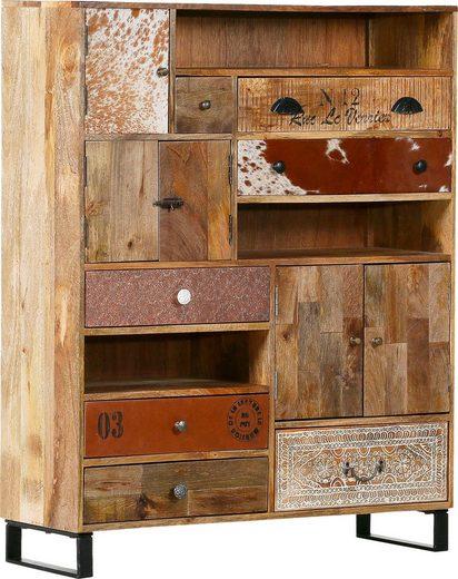 Gutmann Factory Highboard »Bounce«, massives Altholz Mango mit unterschiedlich verzierten Fronten, Shabby Chic, Vintage