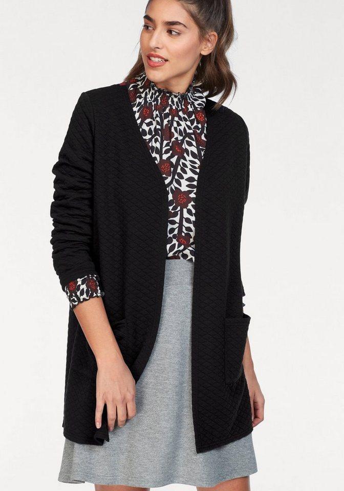 Damen GREYSTONE Cardigan in cooler Stepp-Optik schwarz | 04059203678000