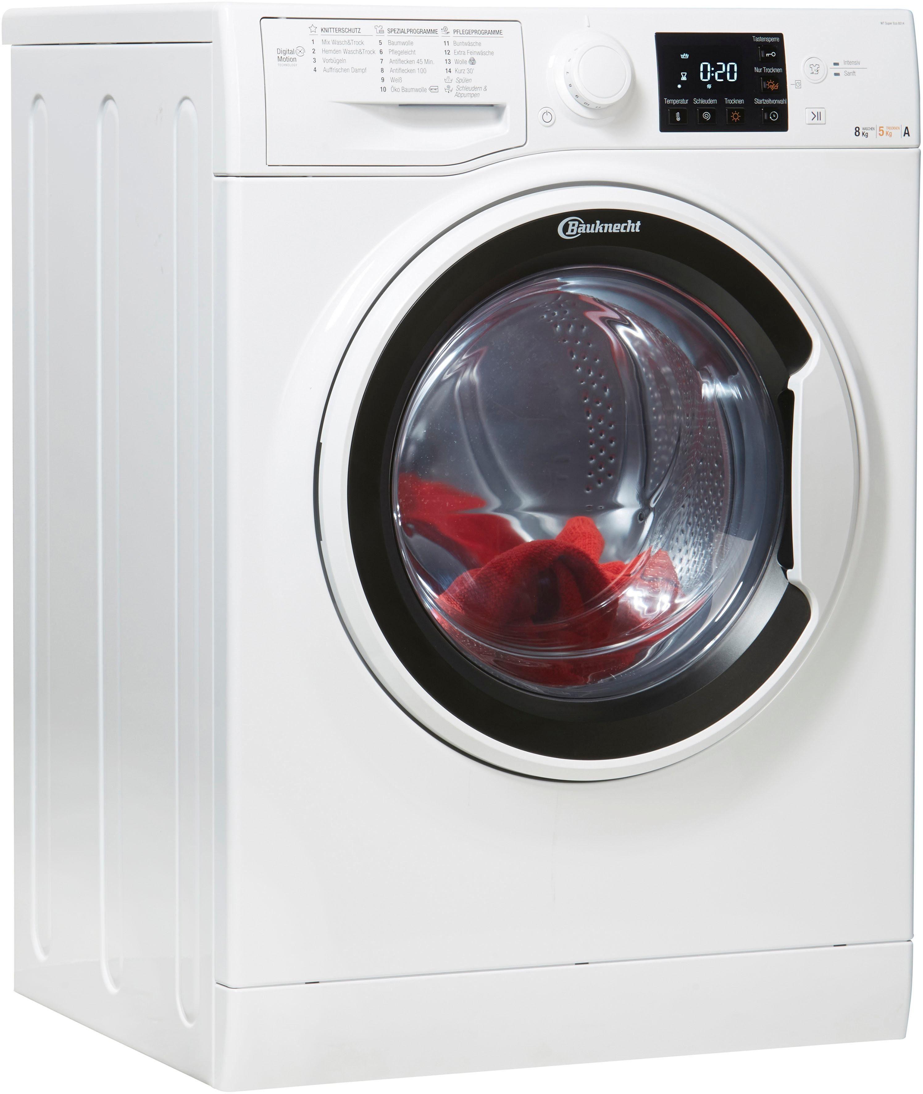 BAUKNECHT Waschtrockner WT Super Eco 8514, 8 kg/5 kg, 1400 U/Min