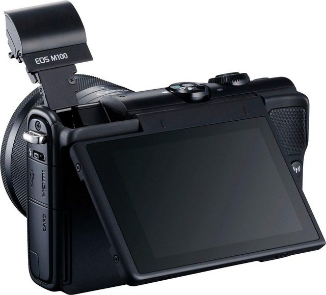 Systemkameras - Canon »EOS M100« Systemkamera (Canon EF M 15 45mm IS STM, 24,2 MP, WLAN (Wi Fi), NFC, Bluetooth, EF M 15 45mm IS STM Objektiv Schwarz)  - Onlineshop OTTO