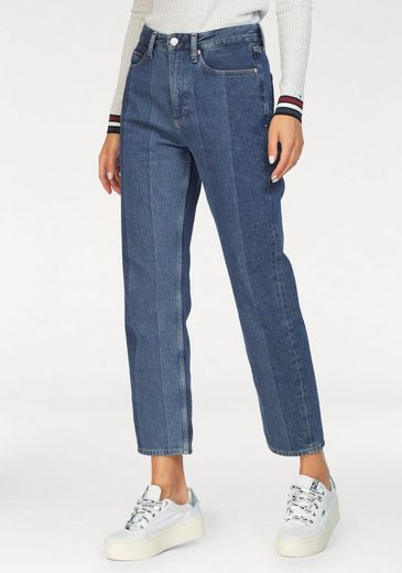 TOMMY JEANS Straight-Jeans »HIGH RISE STRGT TJ 1990 CR NTJMB« in Patchoptik