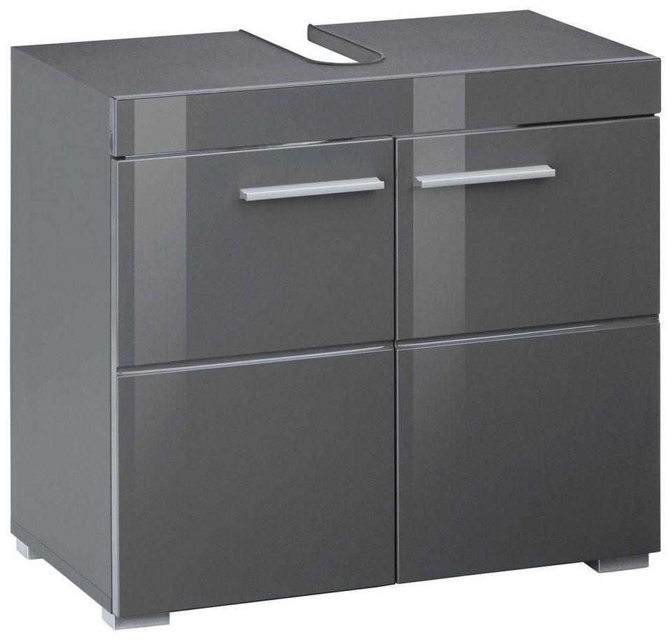 trendteam Waschbeckenunterschrank »Amanda« Höhe 11 cm, Badezimmerschrank  mit 11 Türen und Aussparung für Wasserleitung, MDF-Fronten in Hochglanz-  oder