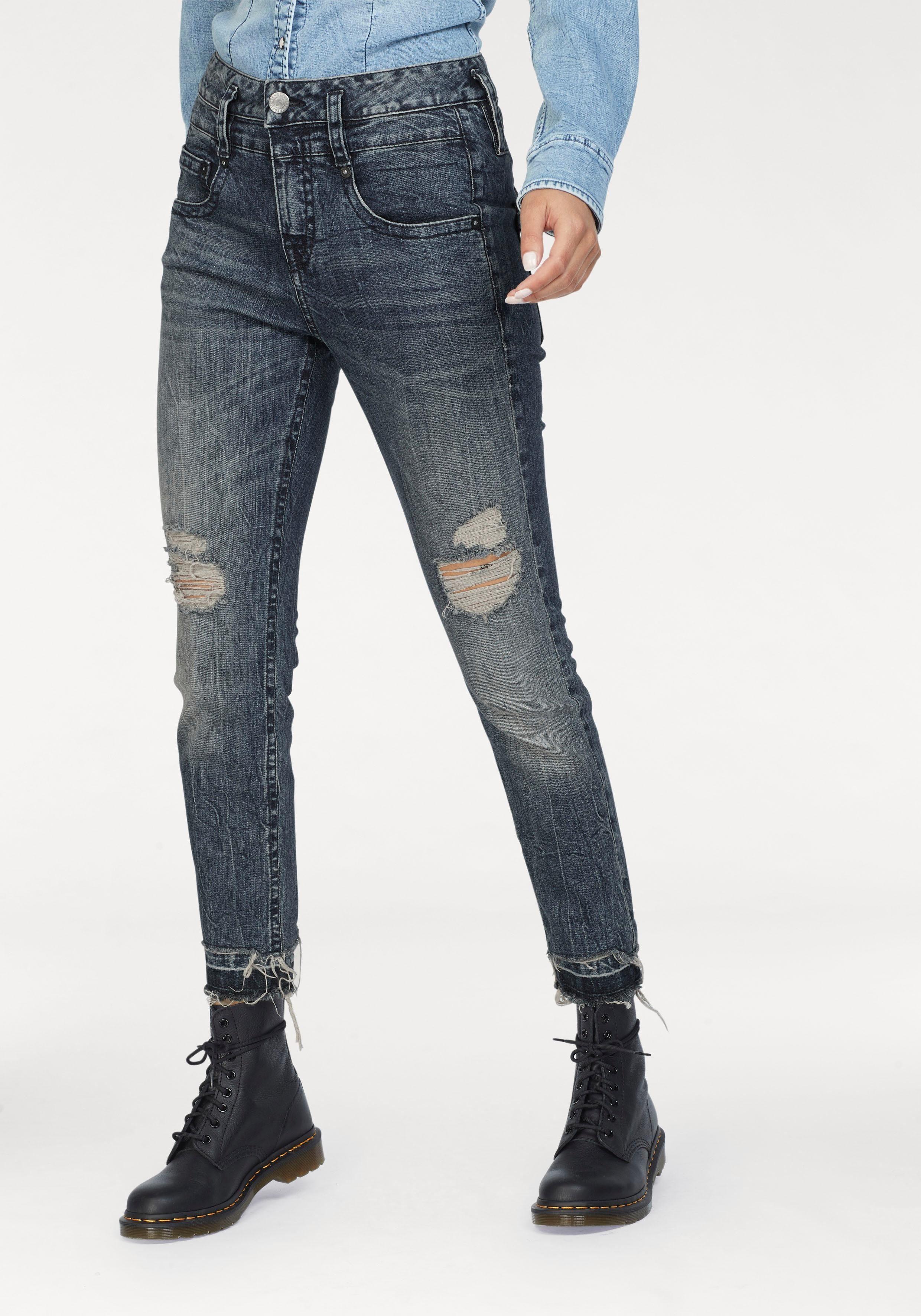 Herrlicher Mom-Jeans »PITCH MOM CROPPED« High Waist Destroyed