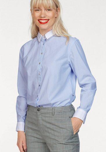 Pepe Jeans Hemdbluse »TRISHA« mit Zierperlen am Kragen