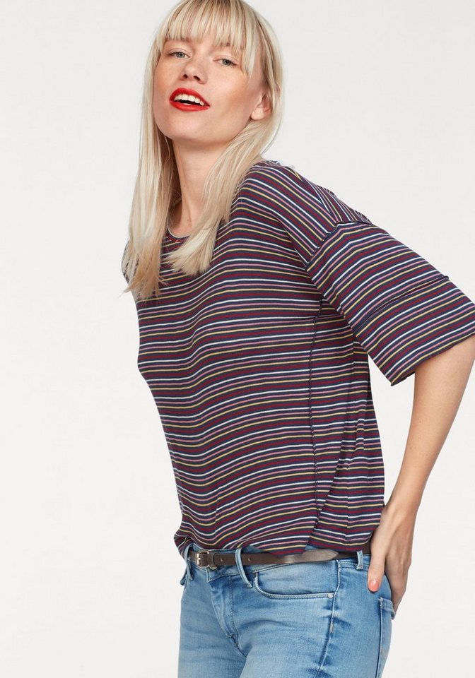 Damen Pepe Jeans T-Shirt KATE mit bunten Streifen blau | 08434538601378