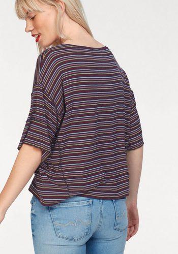 - Damen Pepe Jeans T-Shirt KATE mit bunten Streifen blau | 08434538601378