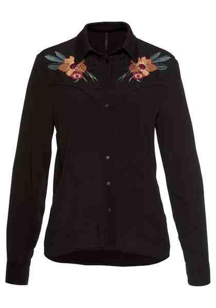 Pepe Jeans Hemdbluse »DORA« mit Blumenstickerei und Glitzersteinen