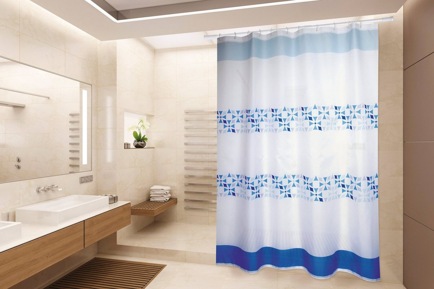 Duschen und Zubehör - MSV Duschvorhang »PREMIUM PORTO BLAU«, Breite 180 cm  - Onlineshop OTTO