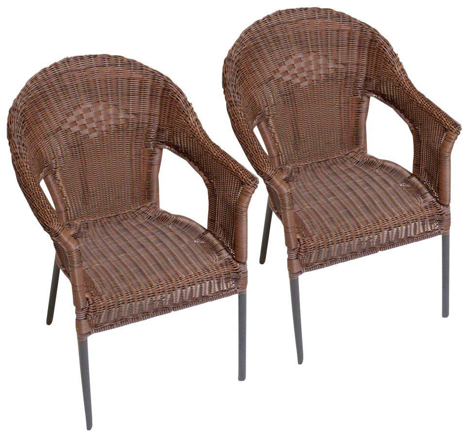merxx gartensessel ravenna 2er set polyrattan stapelbar braun online kaufen otto. Black Bedroom Furniture Sets. Home Design Ideas