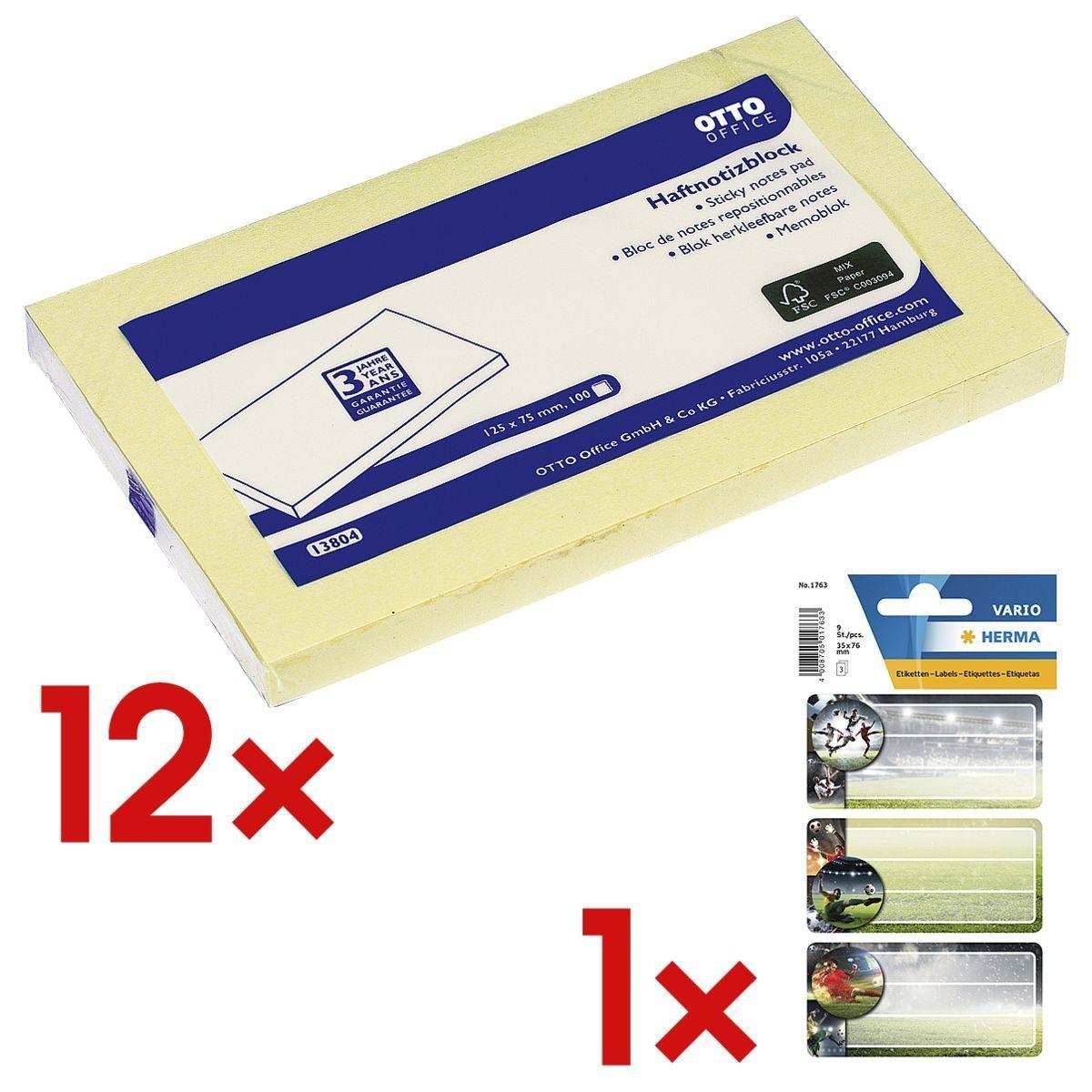OTTO Office Standard 12x Haftnotizblock 12,5 x 7,5 cm inkl. 1x Buchettiketten »Fußball« 1 Set