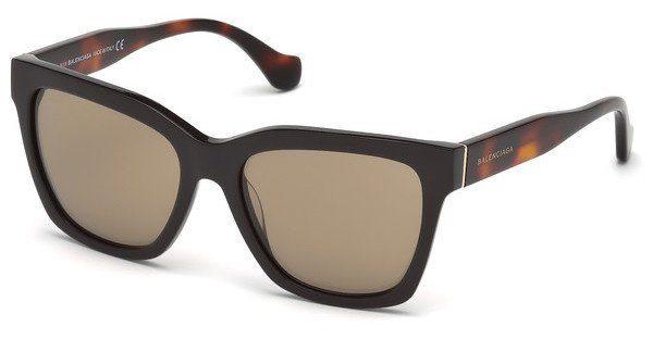 Balenciaga Damen Sonnenbrille » BA0098«, braun, 53F - havana/braun