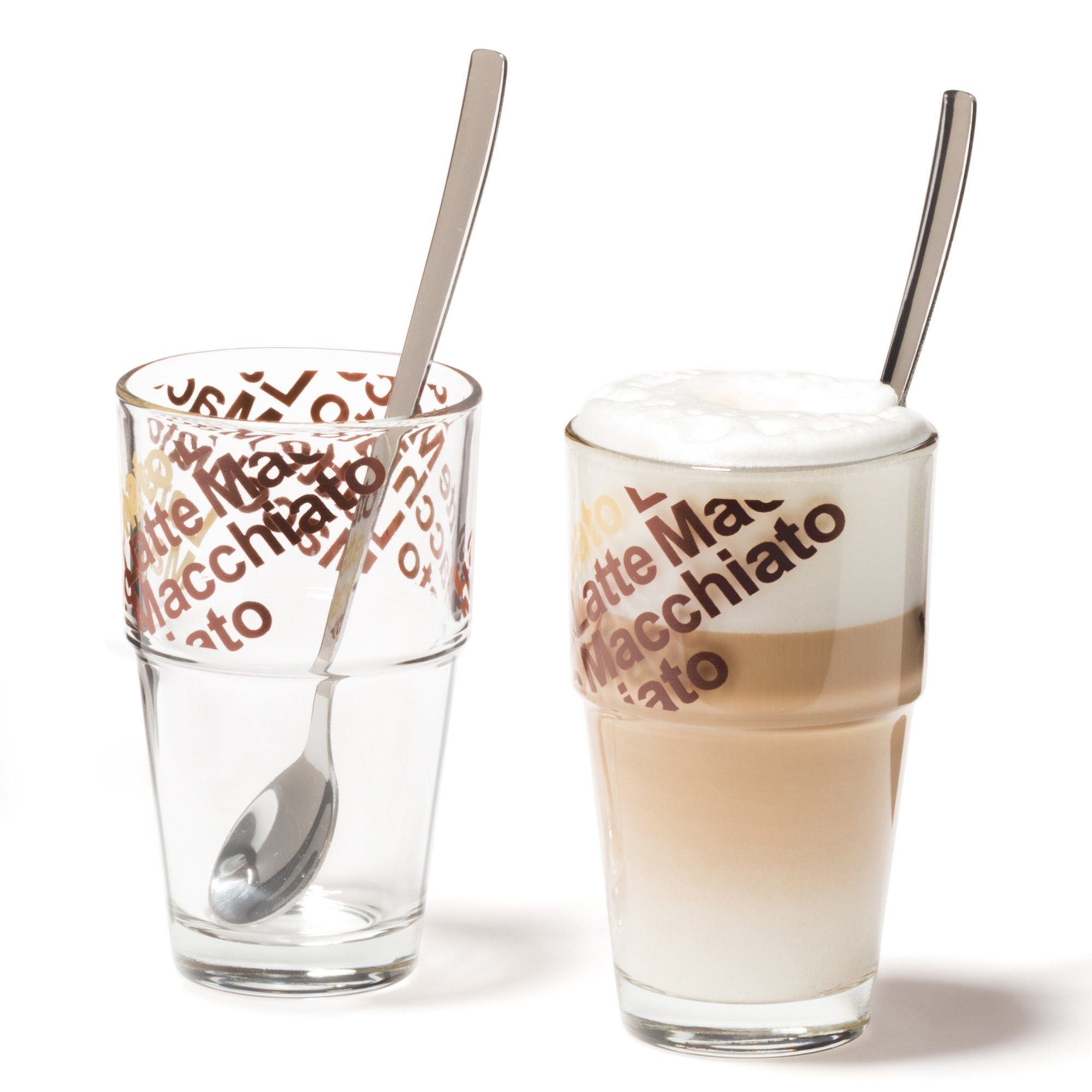 LEONARDO Café Latte mit Löffeln 4er-Set »Solo«