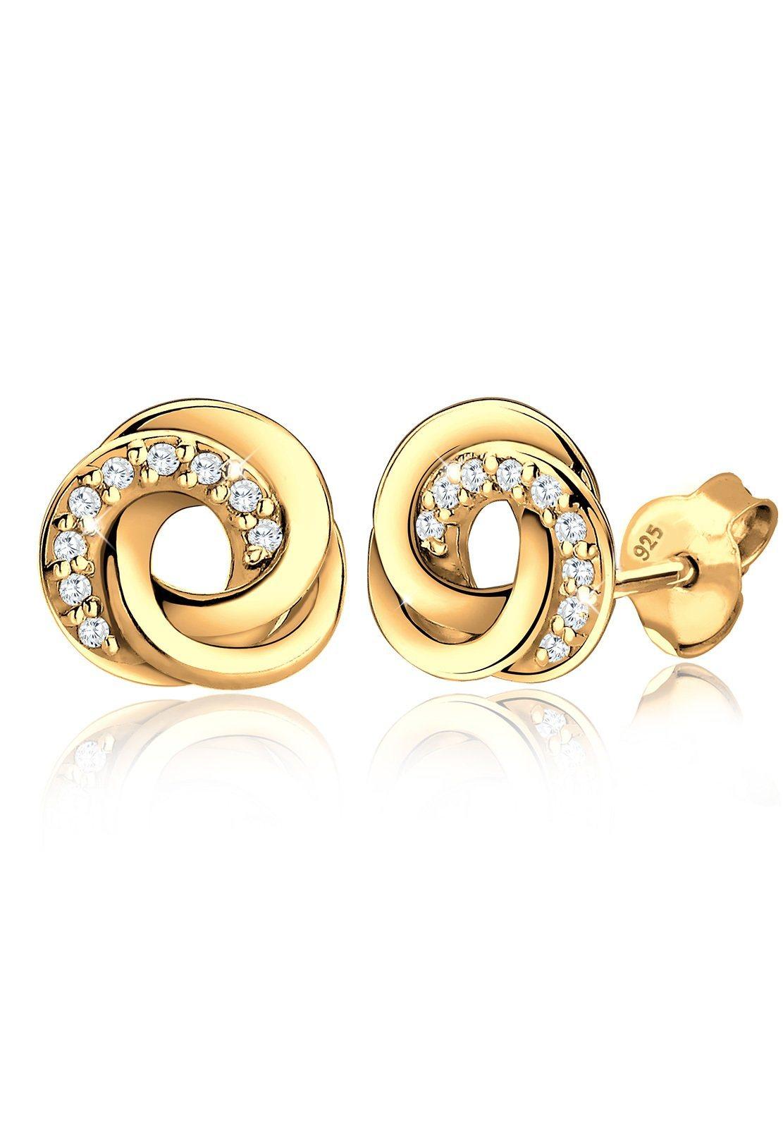 Goldhimmel Ohrringe »Spirale Zirkonia Elegant 925 Silber vergoldet« | Schmuck > Ohrschmuck & Ohrringe > Ohrstecker | Silber - Weiß | GOLDHIMMEL