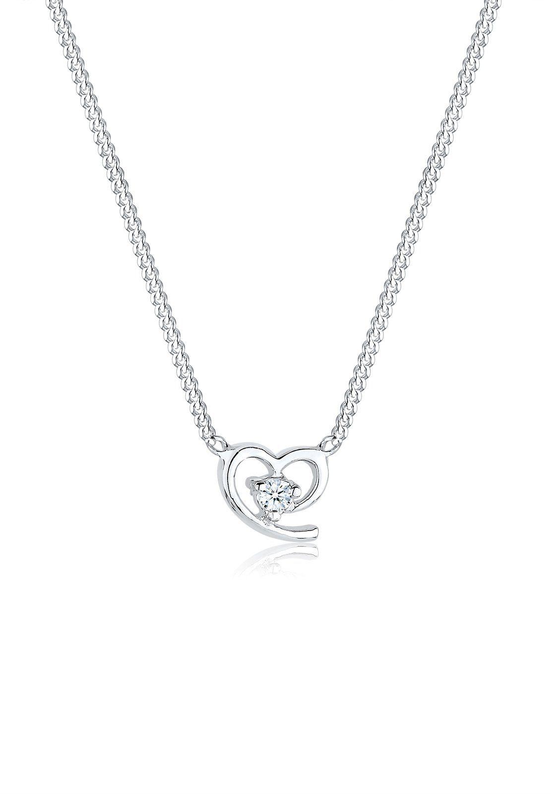 Diamore Halskette »Herz Liebe Amor Diamant 0.03 ct. 925 Silber«