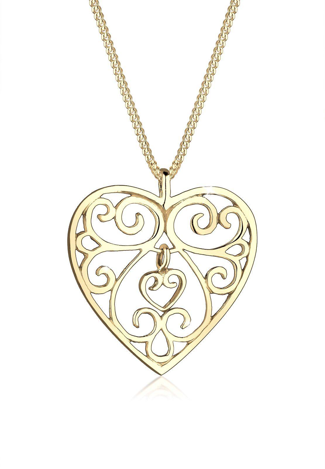 GOLDHIMMEL Collierkettchen »Herz Ornament 925 Sterling Silber«