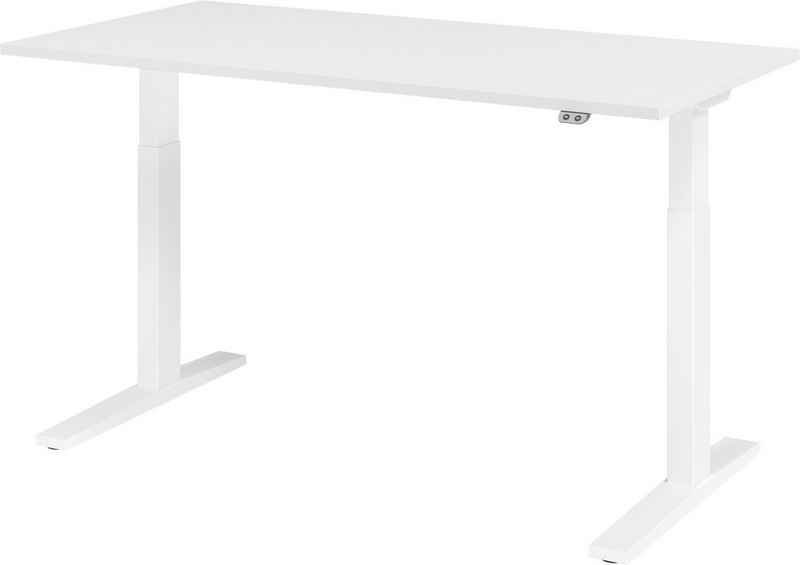bümö Schreibtisch »OM-XMKA16«, elektrisch höhenverstellbar - Rechteck: 160x80 cm - Gestell: Weiß, Dekor: Weiß
