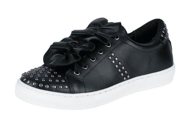 - Damen Heine Sneaker mit Niete und farblich abgesetzter Sohle schwarz   05602539080680