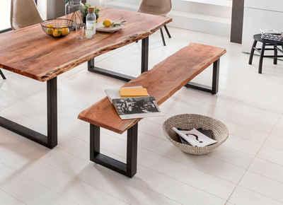 Premium collection by Home affaire Sitzbank »Manhattan«, mit Baumkantenoptik und Gestell U-Form aus schwarzem Metall