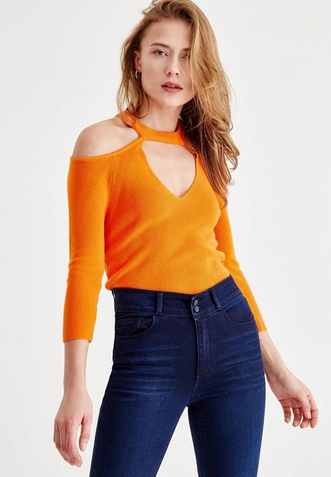 OXXO 3/4 Arm-Pullover mit Cut Out Details | Bekleidung > Pullover > 3/4 Arm-Pullover | Orange | OXXO