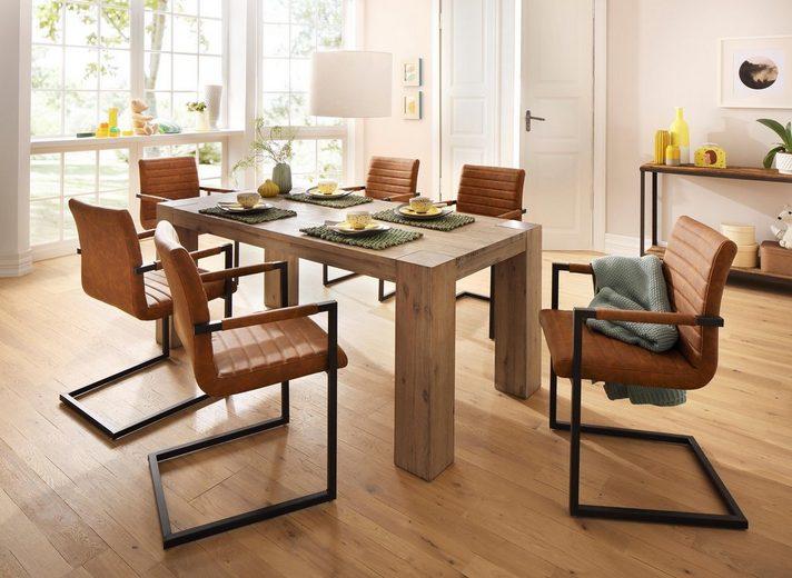 Home affaire Essgruppe »Bine«, (Set, 7 tlg), bestehend aus 6 Sabine Stühlen mit Armlehne und dem Maggie Esstisch white washed
