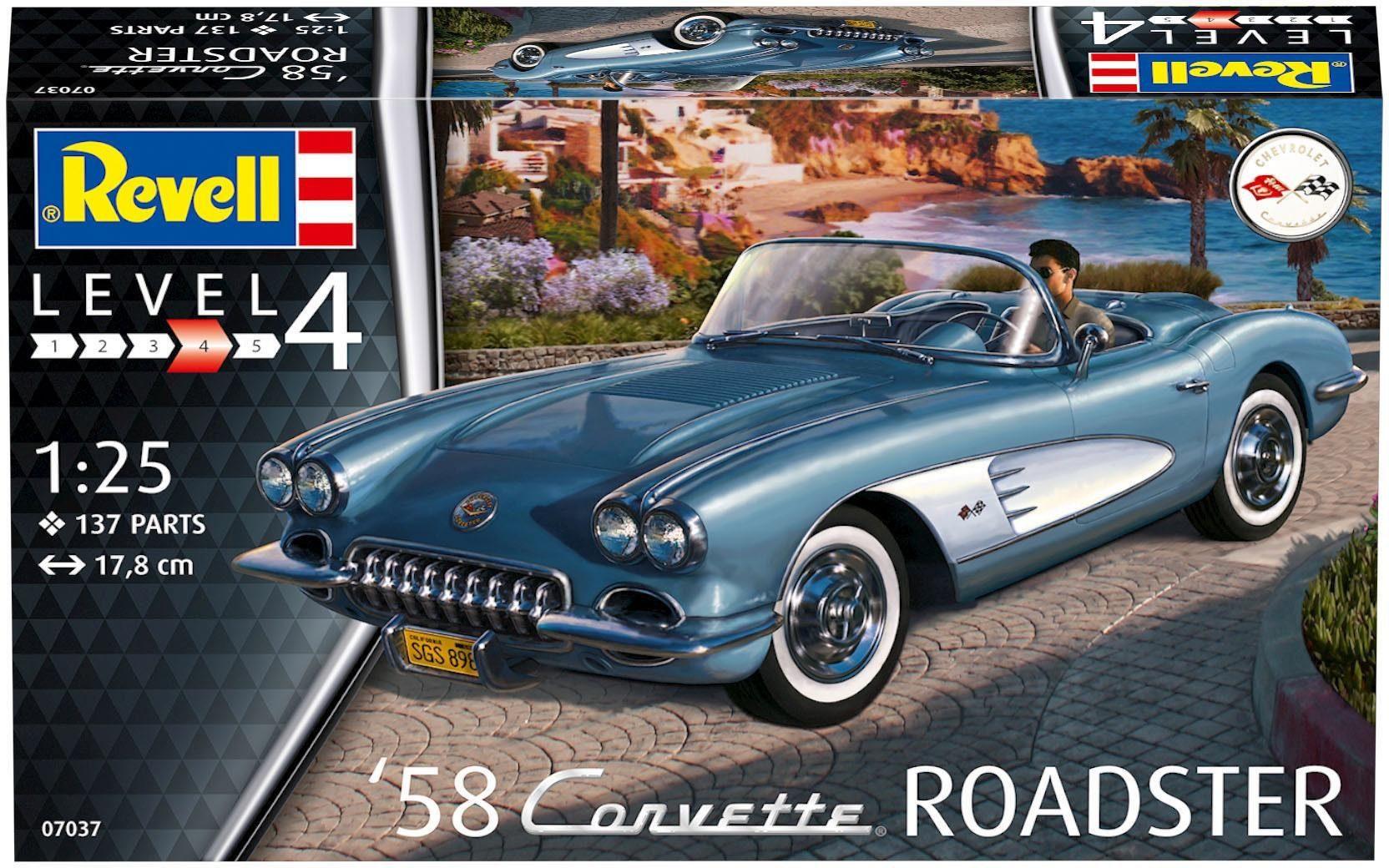 Revell Modellbausatz Auto mit Zubehör Maßstab 1:25, »Model Set '58 Corvette Roadster«