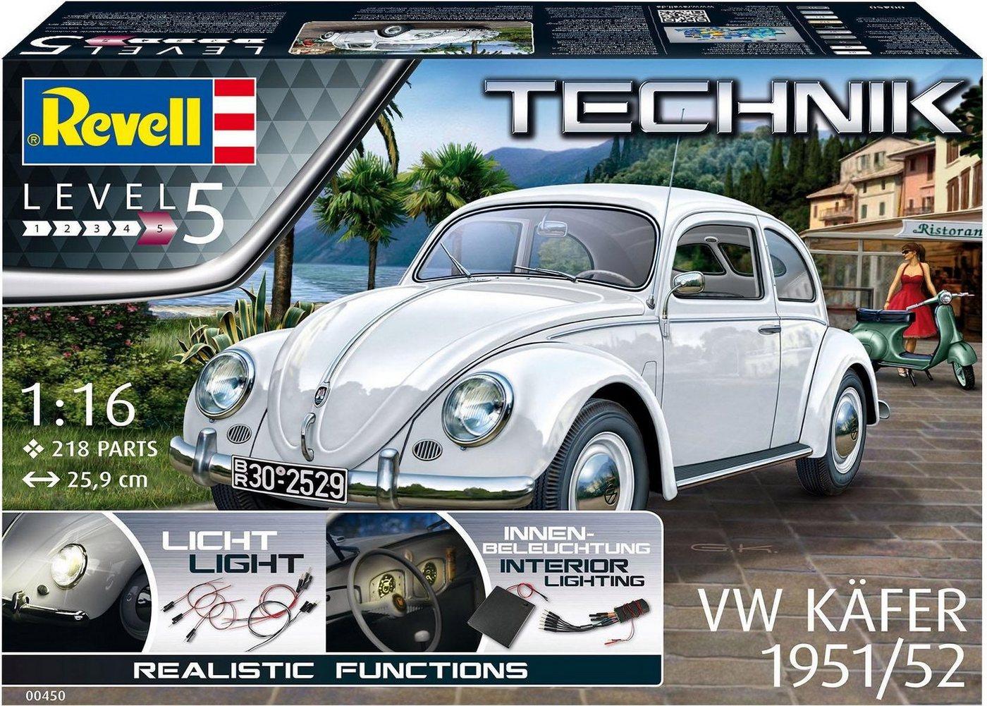 Revell Modellbausatz Auto mit Elektronikkomponenten, 1:16, » Volkswagen VW Käfer 1951/1952-Technik«