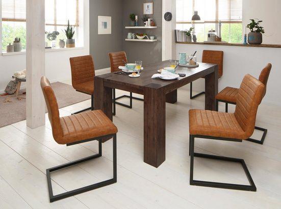 Home affaire Essgruppe »Bine«, (Set, 7-tlg), bestehend aus 6 Sabine Stühlen ohne Armlehne und dem Maggie Esstisch akaziedunkel