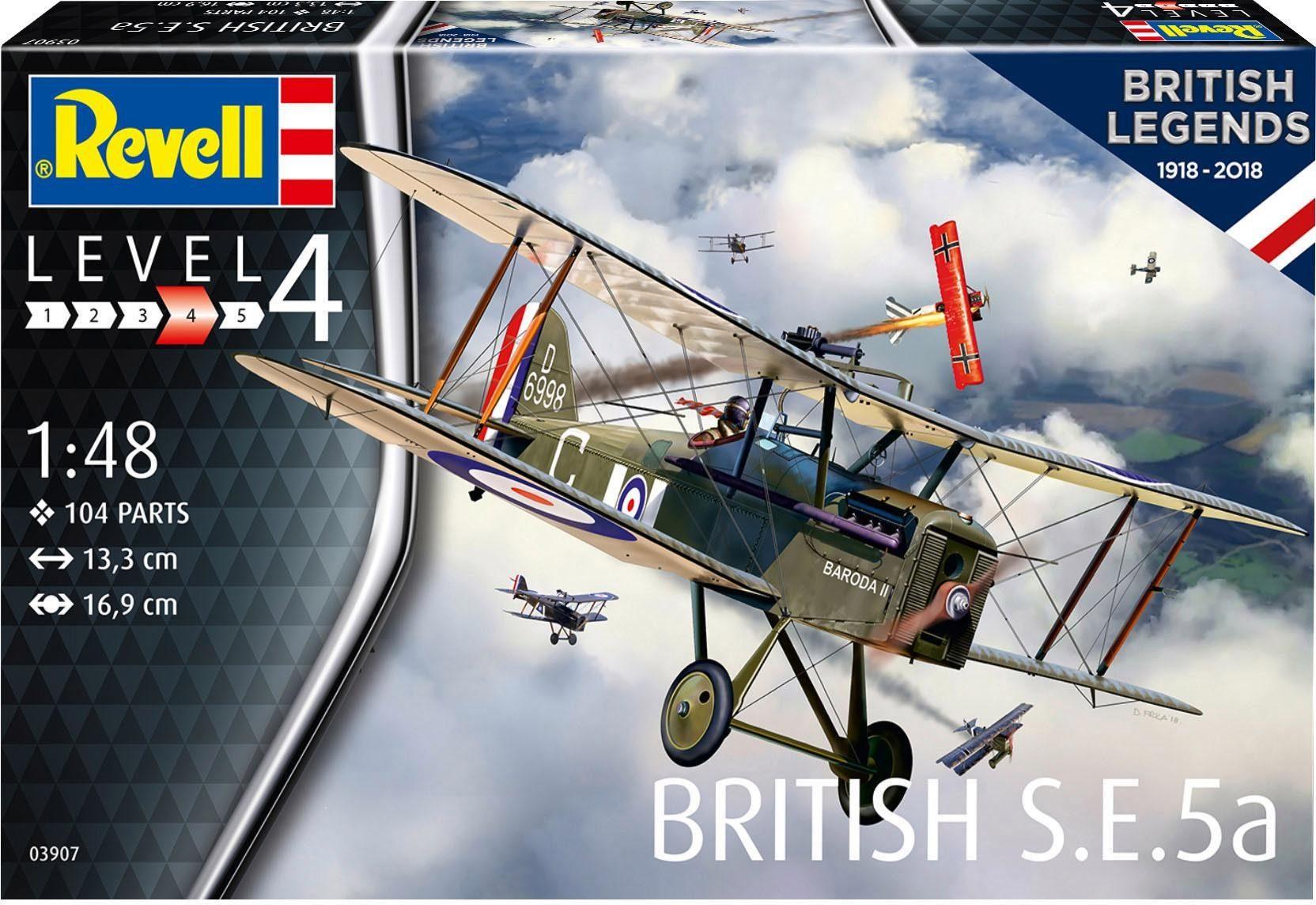 Revell Modellbausatz Flugzeug, Maßstab 1:48, »British Legends 1918-2018, British S.E.5a«