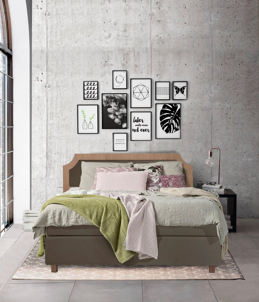 places of style boxspringbett classico mit holzrahmen 2 h rtegrade incl topper online. Black Bedroom Furniture Sets. Home Design Ideas