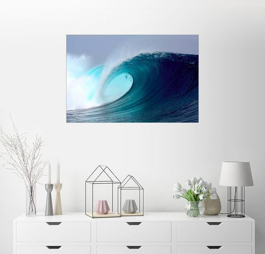 Posterlounge Wandbild, Tropical blauen Welle surfen