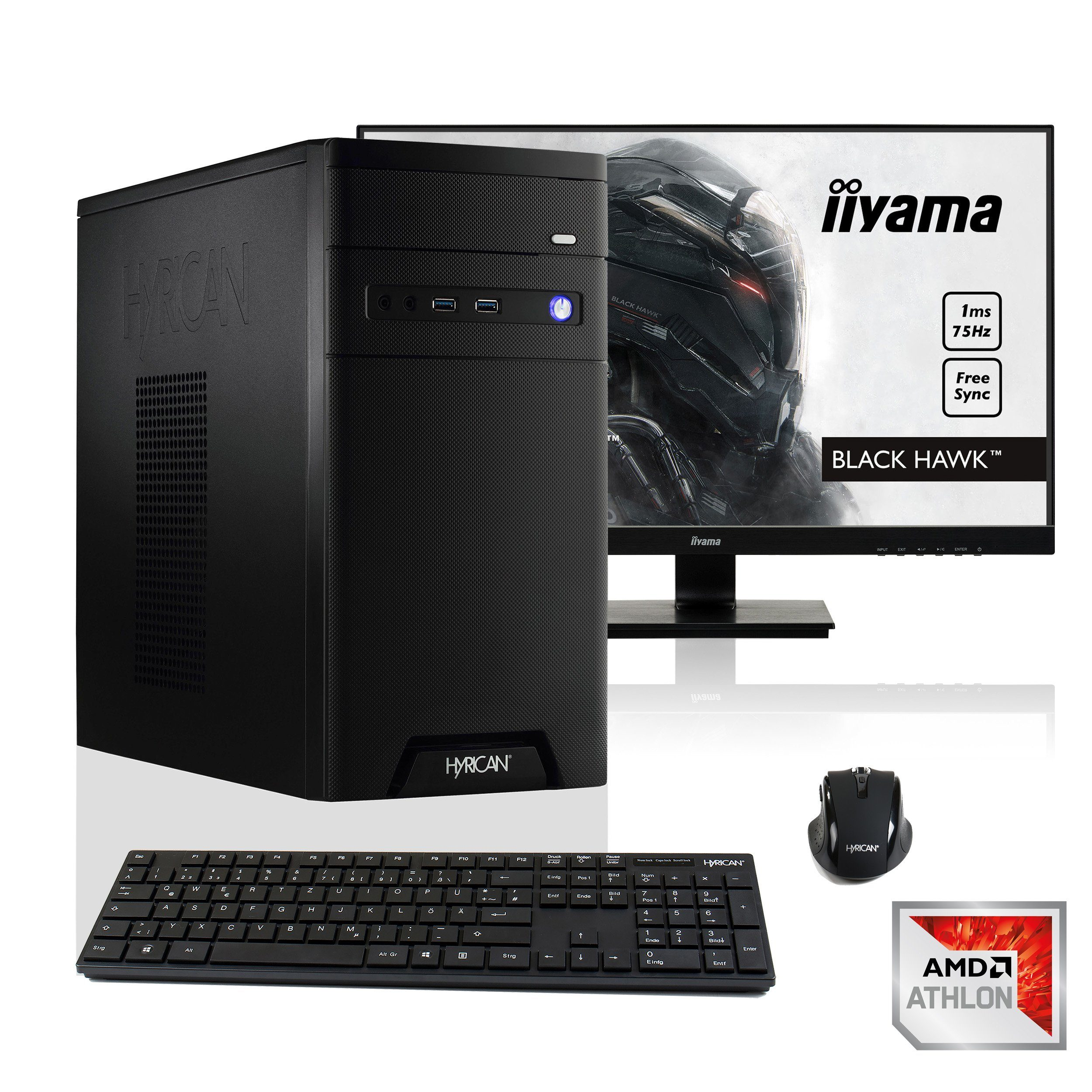 "HYRICAN Gamer PC Athlon X4 950, GTX 1050, 8GB RAM + 68,6cm (27"") »CyberGamer SET1345«"