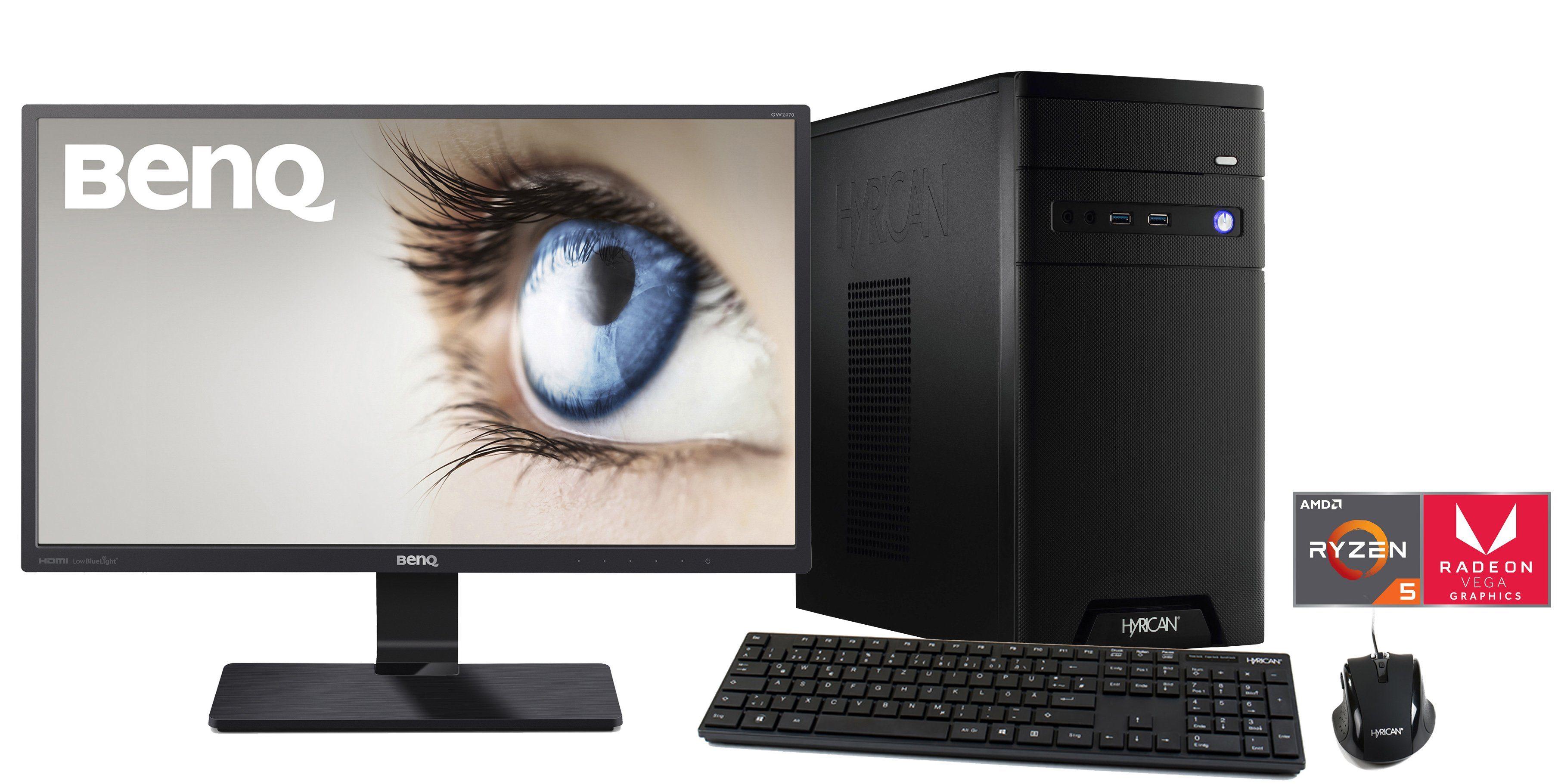 HYRICAN Ryzen 5 2400G mit Radeon™ Vega 11 Grafik 8GB SSD HDD + Monitor »CyberGamer SET1334«