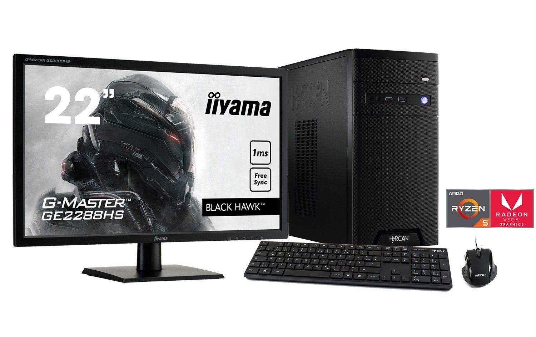 HYRICAN Ryzen 5 2400G mit Radeon™ Vega 11 Grafik 8GB SSD HDD + Monitor »CyberGamer SET1331«