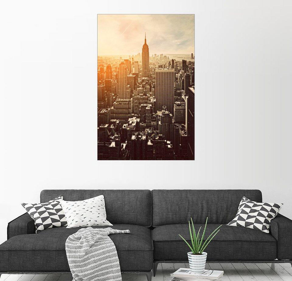 Posterlounge Wandbild »Sonnenuntergang in Manhattan, New York ...