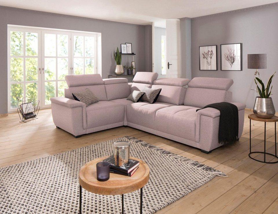 home affaire ecksofa brix mit kopfteilverstellung wahlweise mit sitztiefenverstellung online. Black Bedroom Furniture Sets. Home Design Ideas